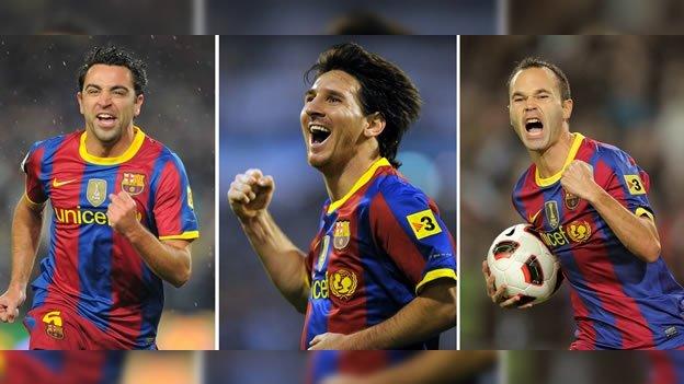Messi, Xavi e Iniesta, jugadores del Barça.