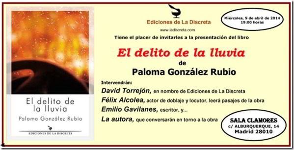 Paloma González Rubio, novela, El delito de la lluvia