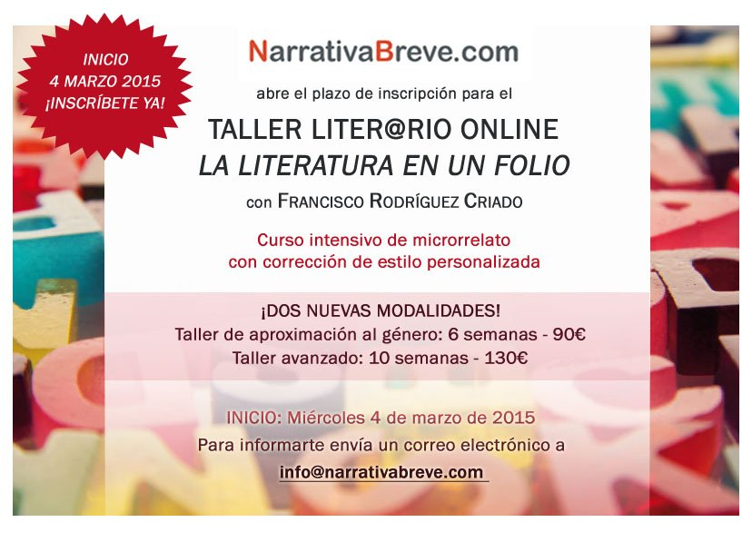 taller, narrativa breve, microrrelatos
