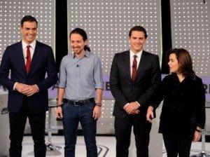Pedro Sánchez, Pablo Iglesias, Albert Rivera y Soraya Sáenz de Santamaría